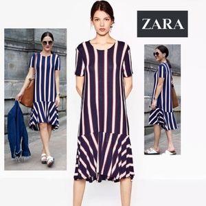 ZARA TRAFALUC Knit Dress with Frill * NWT